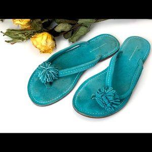 Banana Republic Blue Suede Pom Pom Sandal